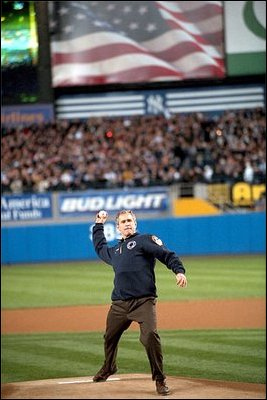 President Bush throws out the first ball