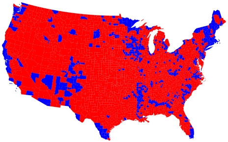 Red counties voting for President Bush and for Vigilance:  geographically the win for Bush was a landslide
