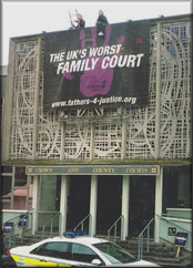 "Fathers 4 Justice unfurled a giant banner declaring United Kingdom's ""Worst Family Court"""