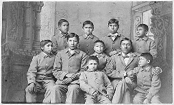 **Group of Omaha boys in cadet uniforms, Carlisle Indian School, Pennsylvania, 1880