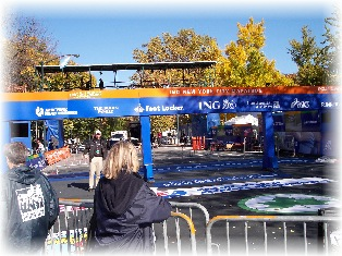 The NYC Marathon finish line at 66th St. and Central Park West