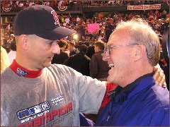 Red Sox Manager Terry Francona congratulated by his father, Tito, also a Major League Ballplayer