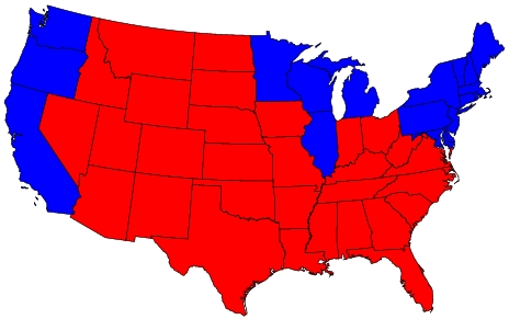 """Real America"" has its roots in the red states which comprise 77% of the U.S. real estate that voted for President Bush"